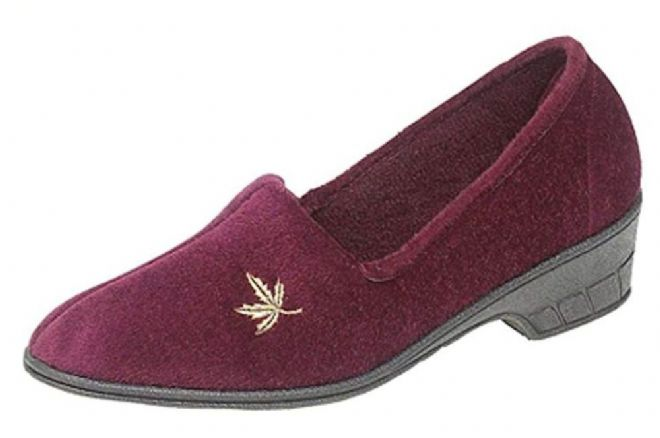 Ladies Cuban Heel Velour Slippers with Embroidered Motif Burgundy